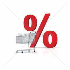 Einkaufswagen mit rotem Prozentzeichen