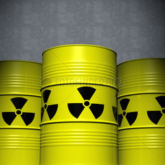 Nuclear or Atomic Waste in Yellow Barrels