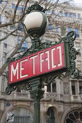 France  Paris  Paris Metro sign on lamp post