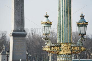 Ornate lamp post in Place de la Condorde  Paris  France