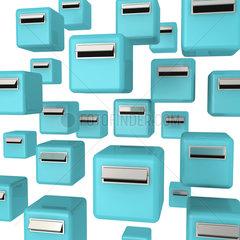 Tuerkise Briefkaesten auf weissem Hintergrund - letter boxes or mailboxes on white