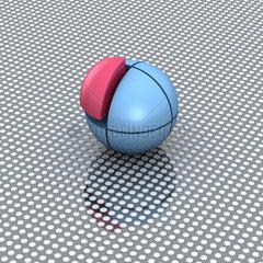 Blaue Kugel aus 8 Teilen  ein Achtel ist rot