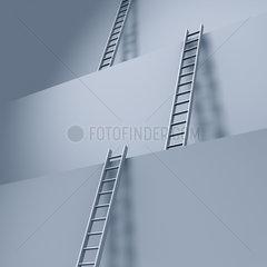 Leitern an riesigen Stufen