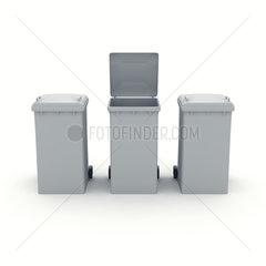 3 graue Muelltonnen  eine mit geoeffnetem Deckel
