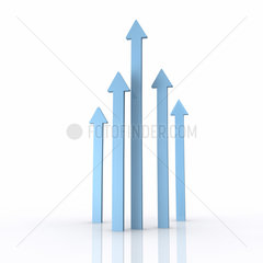 5 blaue Pfeile unterschiedliche Laenge zeigen nach oben auf weissem Hintergrund