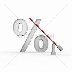 Prozentzeichen und davor eine offene Schranke auf weissem Hintergrund