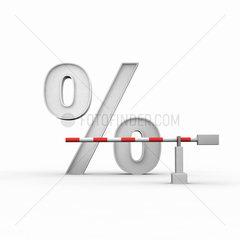 Prozentzeichen und davor eine geschlossene Schranke auf weissem Hintergrund