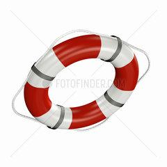 rot-weisser Rettungsring auf weissem Hintergrund