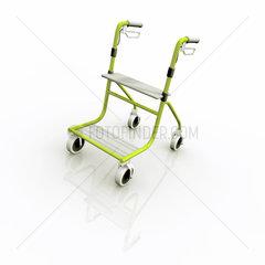 Rollator  oder Gehhilfe mit Raedern auf weissem Hintergrund - Walking Frame or Zimmer on White Background