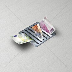 Gully oder Abfluss mit Geldscheinen