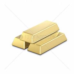 3 Goldbarren auf weissem Hintergrund