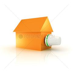 Haus mit Heizkoerper Thermostatventil