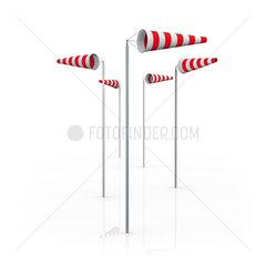 Windsaecke oder Windhosen die in verschiedene Richtungen zeigen auf weiss