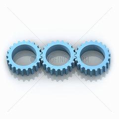 3 blaue Zahnraeder in einer Reihe auf weissem Hintergrund - Three blue Gear Wheels Working together