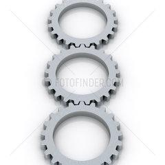 3 silber-graue Zahnraeder in einer Reihe auf weissem Hintergrund - Three Gear Wheels Working together