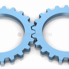 2 blaue Zahnraeder in einer Reihe auf weissem Hintergrund - Two Blue Gear Wheels Working together
