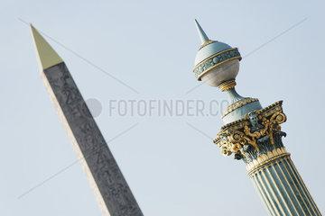 Ornate lamp post of Obelisk of Luxor  Place de la Concorde  Paris  France