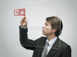 Businessman using advanced touch screen technology