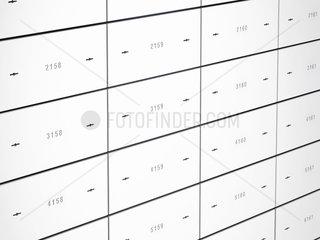Bankschliessfaecher mit nummerierten Stahltueren