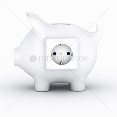 Sparschwein mit Steckdose auf weissem Hintergrund