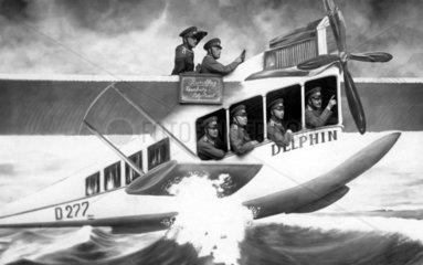 sechs Maenner im Wasserflugzeug