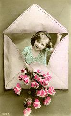 Kind im Briefumschlag  1910