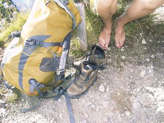 Pause beim Bergwandern