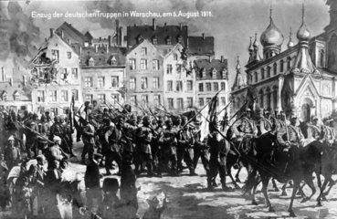 Einzug deutscher Truppen in Warschau am 5. August 1915
