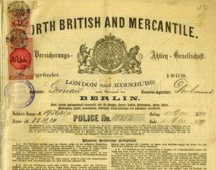 Versicherungspolice  Brandversicherung  1894