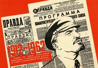 russische Zeitung mit Leninkopf