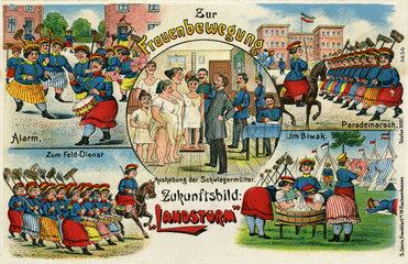 Humor Postkarte  Zukunft: Frauen bei der Armee  1912