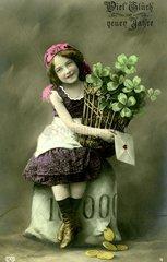 Maedchen mit Gluecksklee  1910