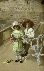 Junge und Maedchen  kitschig  1900