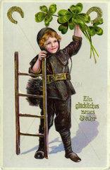 Schornsteinfeger als Gluecksbringer  Neujahrskarte  1907