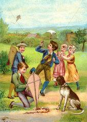 Kinder lassen Drachen steigen  1877