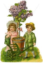 Junge und Maedchen mit Blumen  1903