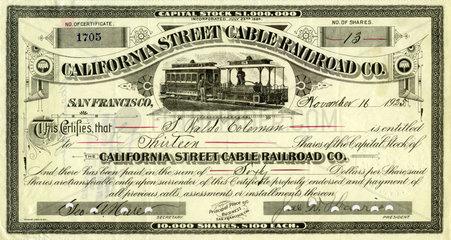 Aktie California Street Cable Railroad  1925
