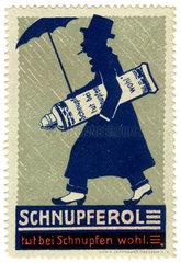 Schnupferol gegen Schnupfen  Werbemarke  1912