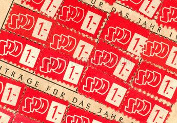 SPD Mitgliedsbuch  Beitragsmarken 1950  1951