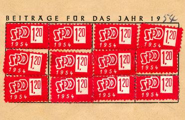 SPD Mitgliedsbuch  Beitragsmarken 1954