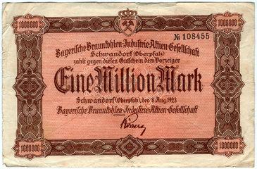 Eine Million Mark  Inflationsgeld  1923