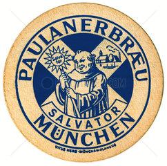 alter Bierdeckel  Paulanerbraeu  Muenchen  1959