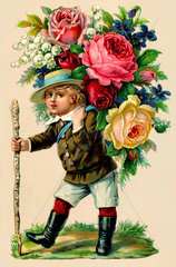 Junge mit Rosen  Illustration  um 1912