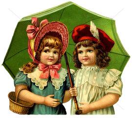 zwei Maedchen  Regenschirm  um 1900