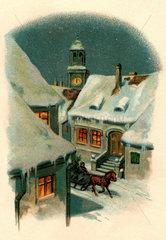 verschneites Dorf bei Nacht  um 1907