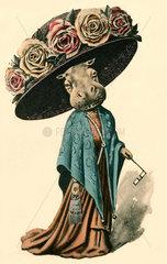 Nilpferddame mit Hut  Humor  1910