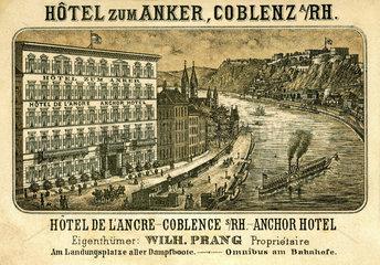 Visitenkarte  Hotel zum Anker  Koblenz  1860