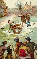 Kinder auf dem Eis  Eisdecke zerbricht  1888