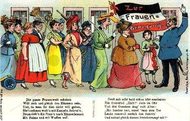 Karikatur zur Frauenbewegung im Kaiserreich  1910