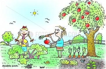 Maedchen im Biogarten